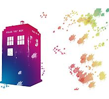 The Tardis in Watercolours ... Geronimo ! * laptop skins, and mugs added * Photographic Print
