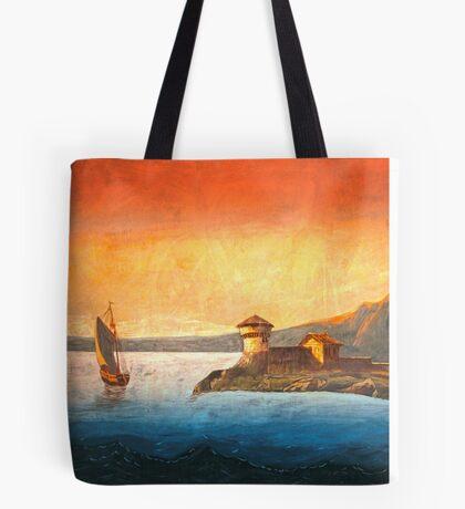 Vintage Bay and Marina Landscape with Vessel Tote Bag