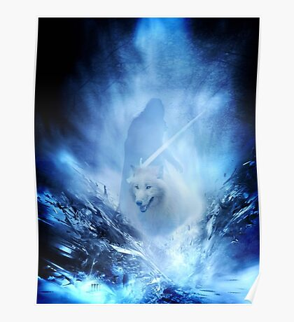 Jon Snow and Ghost - Game of thrones - Winter is here Poster