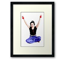 Girl with two red dumbbells in hands Framed Print