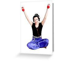 Girl with two red dumbbells in hands Greeting Card