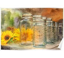 Sunflowers and Jars Poster