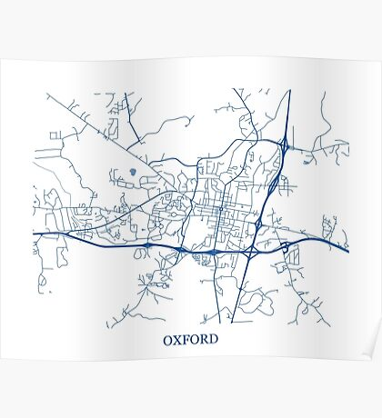 Oxford, Mississippi Abstract Street Map Print Poster
