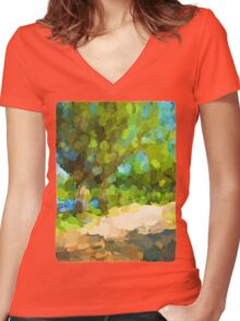 Green Trees next to the Path Women's Fitted V-Neck T-Shirt
