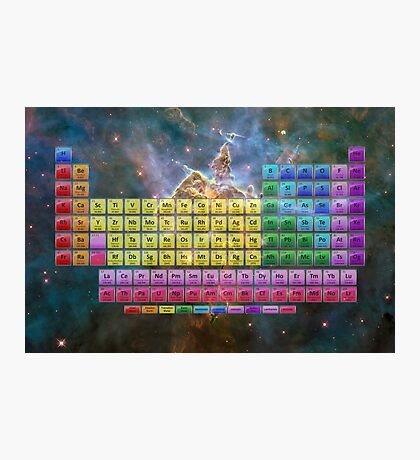 118 Element Color Periodic Table - Stars and Nebula Photographic Print