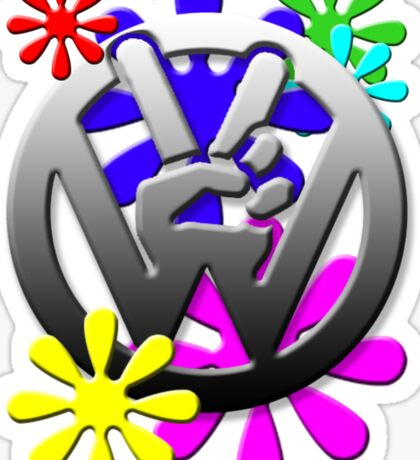 VW Peace hand sign with flowers Sticker