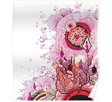 Coral Sunburst Poster