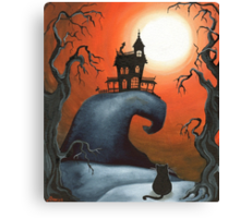 Haunted House on Old Witch Hill Canvas Print