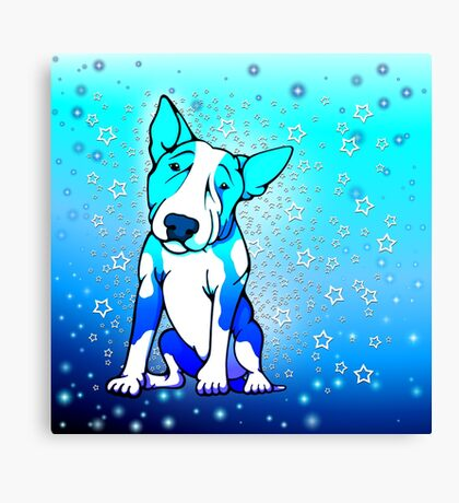 Midnight Starry Bull Terrier Canvas Print