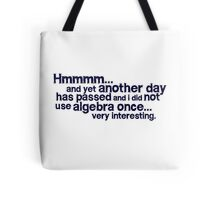 Hmmmm... and yet another day has passed and I did not use algebra once. Very interesting. Tote Bag