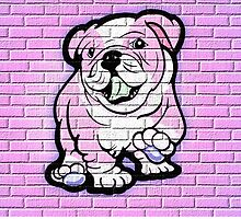 Pink Bull Dog Wall Art by Sookiesooker