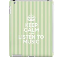 Keep Calm and Listen to Music - Green Stripes iPad Case/Skin