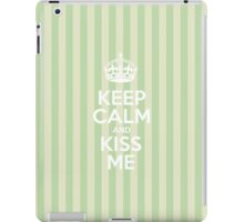 Keep Calm and Kiss Me - Green Stripes iPad Case/Skin