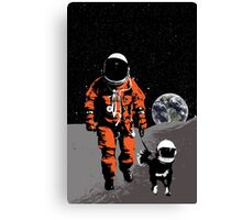 Astronaut walking his dog on the moon Canvas Print