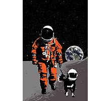 Astronaut walking his dog on the moon Photographic Print