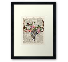Skull & Flowers on Vintage Dictionary Page Framed Print