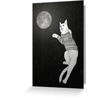 Cat trying to catch the Moon. Greeting Card
