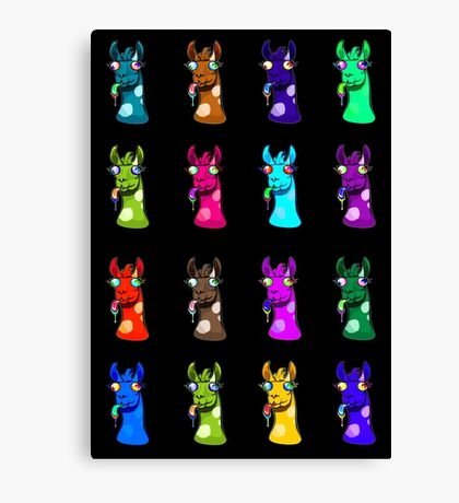 Goofy Llamas Colorful Canvas Print