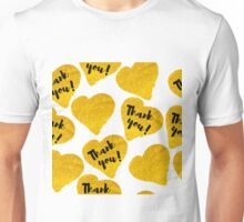 gold hand-drawn hearts with description thank you Unisex T-Shirt