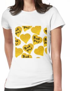 gold hand-drawn hearts with description thank you Womens Fitted T-Shirt