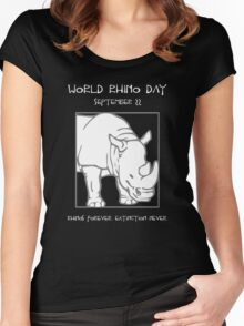 World Rhino Day -- Rhinos Forever. Extinction Never. Women's Fitted Scoop T-Shirt