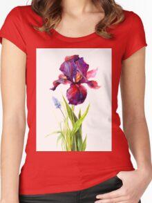 watercolor iris Women's Fitted Scoop T-Shirt