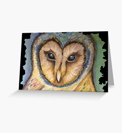 Majestic Owl Oil Pastel Greeting Card