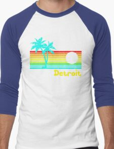 Tropical Detroit (funny vintage design) Men's Baseball ¾ T-Shirt