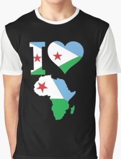 I love Djibouti flag Africa map Graphic T-Shirt