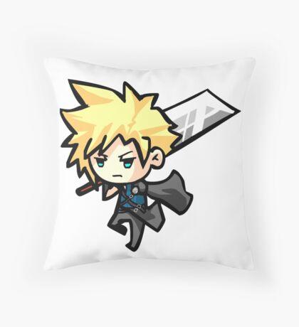 Chibi Cloud Strife Throw Pillow