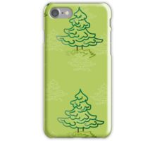 Large and small trees on a green background iPhone Case/Skin