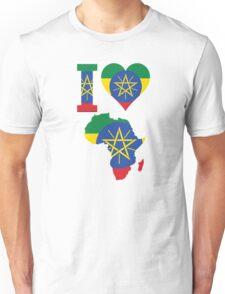 I love Ethiopia flag Africa map t-shirt Unisex T-Shirt