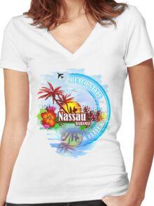 Nassau Bahamas  Women's Fitted V-Neck T-Shirt