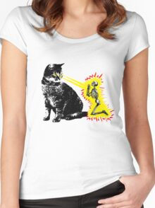What your cat is really thinking, cat death ray Women's Fitted Scoop T-Shirt