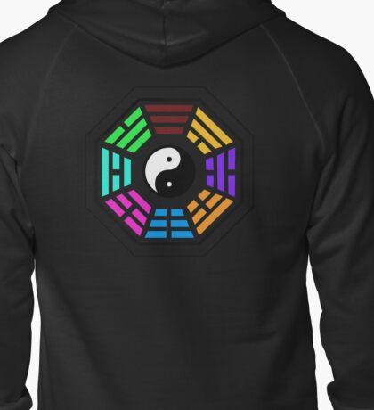Yin yang coloured  Zipped Hoodie
