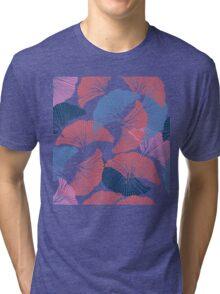Сolorful seamless pattern. Hand drawn leaf of Ginkgo Biloba. Tri-blend T-Shirt