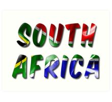 South Africa Word With Flag Texture Art Print
