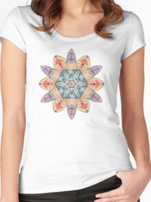 Colored 12 rays mandala Women's Fitted Scoop T-Shirt