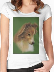 Shy Sheltie Women's Fitted Scoop T-Shirt