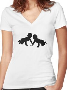 Babies twins Women's Fitted V-Neck T-Shirt