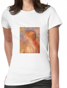 Renoir Auguste - Girl With A Red Hair Ribbon 1891 Womens Fitted T-Shirt