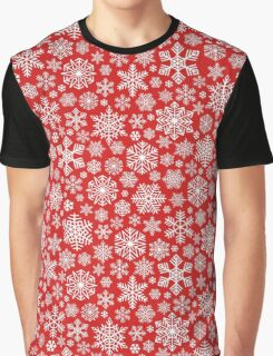 White Snowflakes Pattern on Red Background Graphic T-Shirt