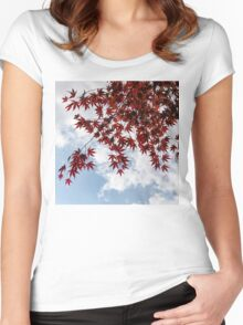 Japanese Maple Red Lace - Horizontal View Downwards Left Women's Fitted Scoop T-Shirt