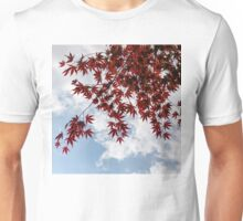 Japanese Maple Red Lace - Horizontal View Downwards Left Unisex T-Shirt