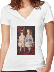 Renoir Auguste - Pink And Blue 1881 Women's Fitted V-Neck T-Shirt