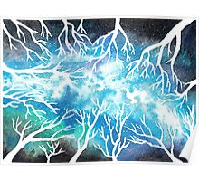 Vintergatan ~ watercolor winter forest night sky Poster