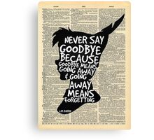 Peter Pan Vintage Dictionary Page Style -- Goodbye Canvas Print