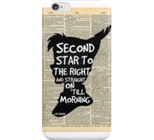 Peter Pan Vintage Dictionary Page Style -- Second Star iPhone Case/Skin
