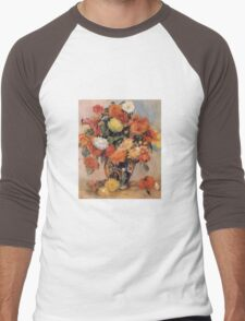 Renoir Auguste - Vase Of Flowers Men's Baseball ¾ T-Shirt