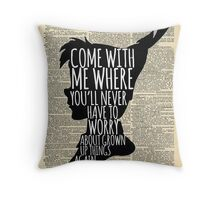 Peter Pan Vintage Dictionary Page Style -- Grown Up Things Throw Pillow